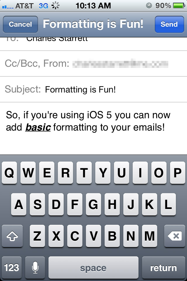 Adding formatting to emails in iOS 5