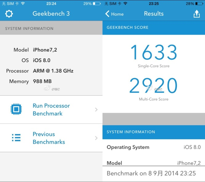 Alleged iPhone 6 benchmarks: 1.4 GHz dual-core A8, 1GB RAM, 8MP camera 1