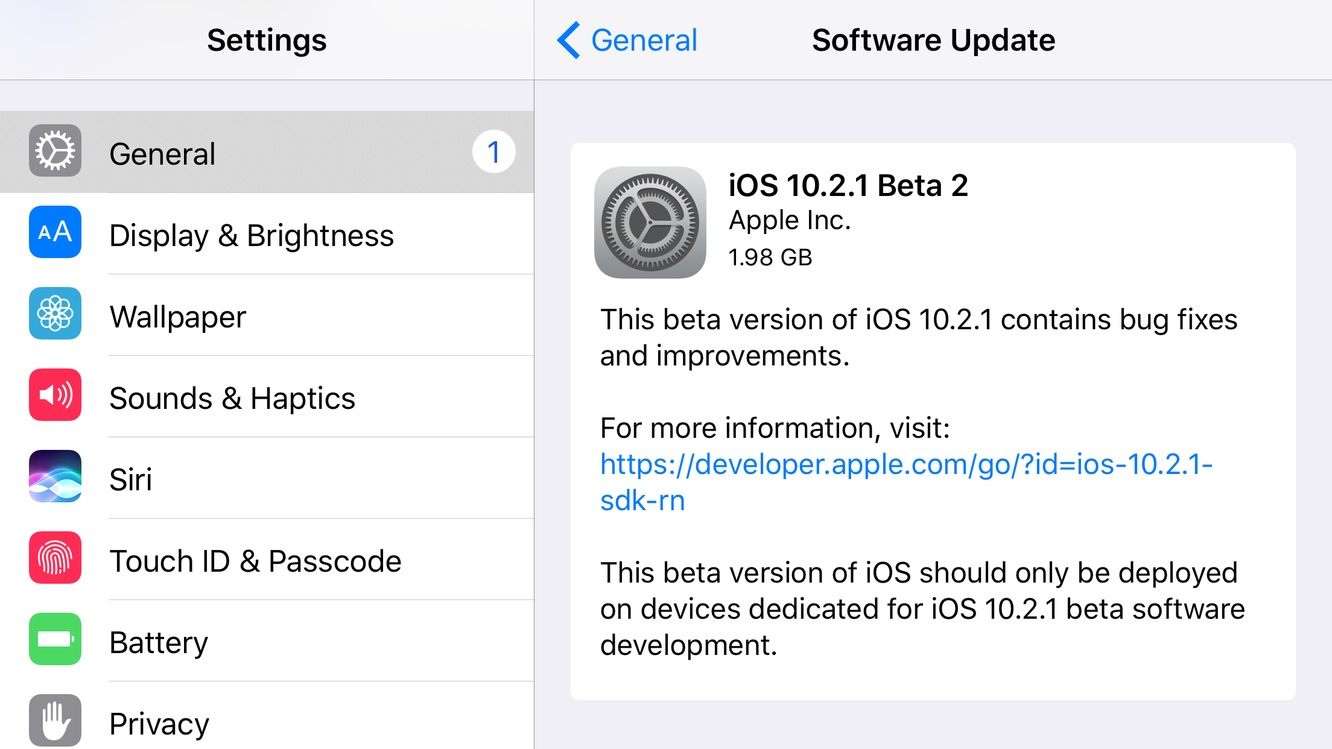 Apple releases second developer beta of iOS 10.2.1