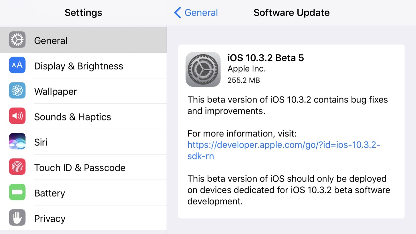 Apple releases fifth beta of iOS 10.3.2