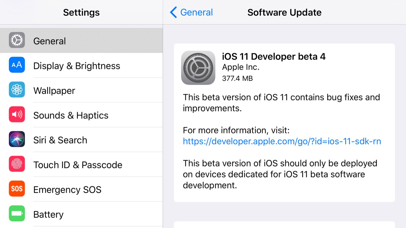 Apple iOS 11 Beta 4 for Developers Released