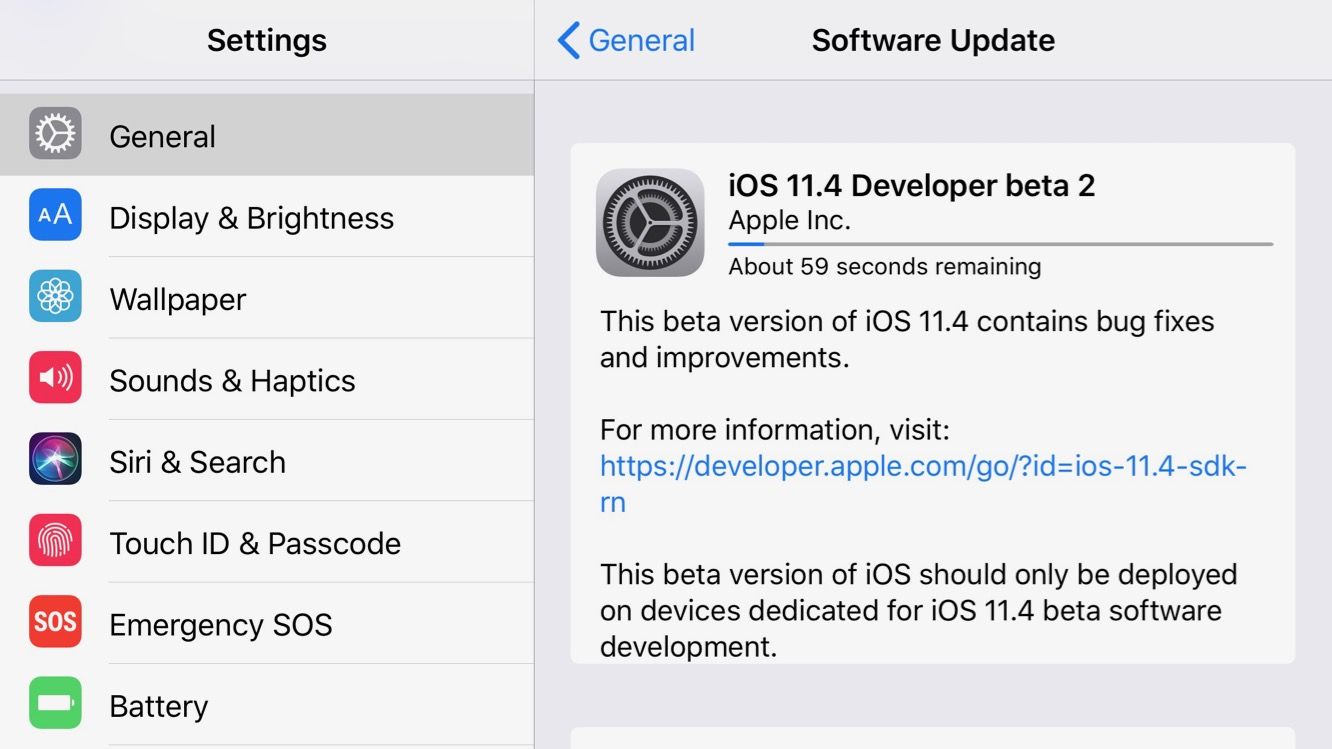 Apple releases second developer betas for iOS 11.4, tvOS 11.4, watchOS 4.3.1