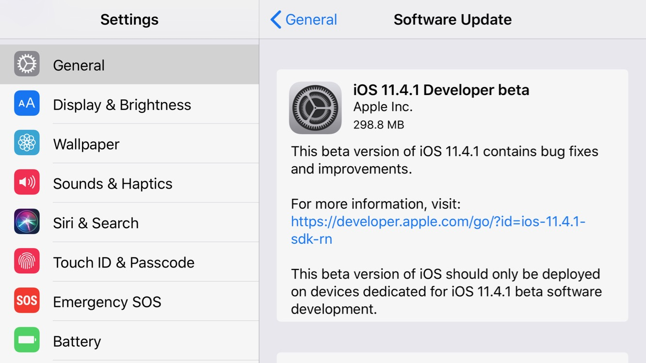 Apple releases first betas of iOS 11.4.1, tvOS 11.4.1, and watchOS 4.3.2