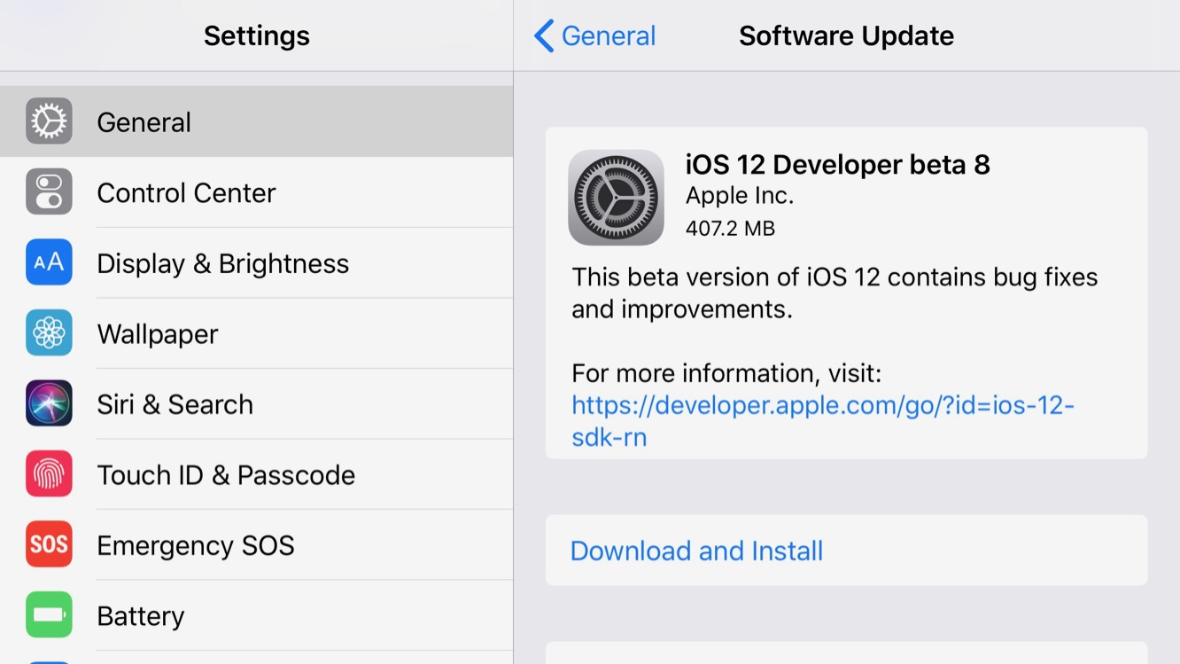 Apple releases iOS 12 beta 8, following removal of beta 7 earlier this week