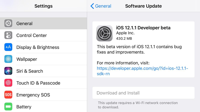 Apple posts first developer betas of iOS 12.1.1, tvOS 12.1.1 1
