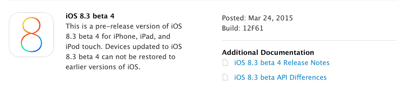 Apple releases iOS 8.3 beta 4
