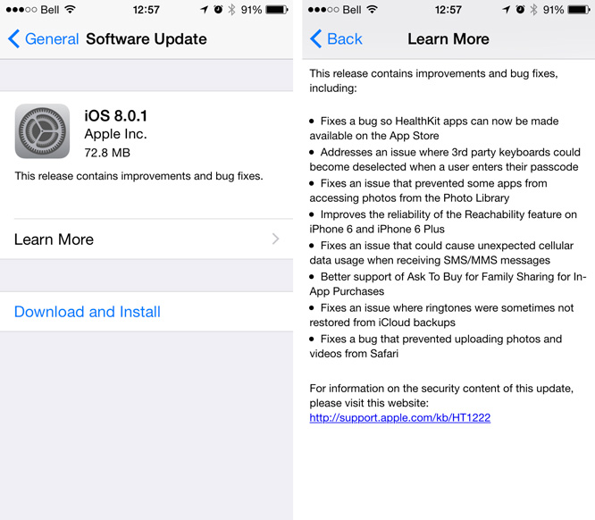Apple releases iOS 8.0.1 (Update: with serious problems) 1