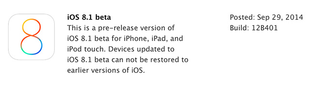 Apple releases first iOS 8.1 beta to developers