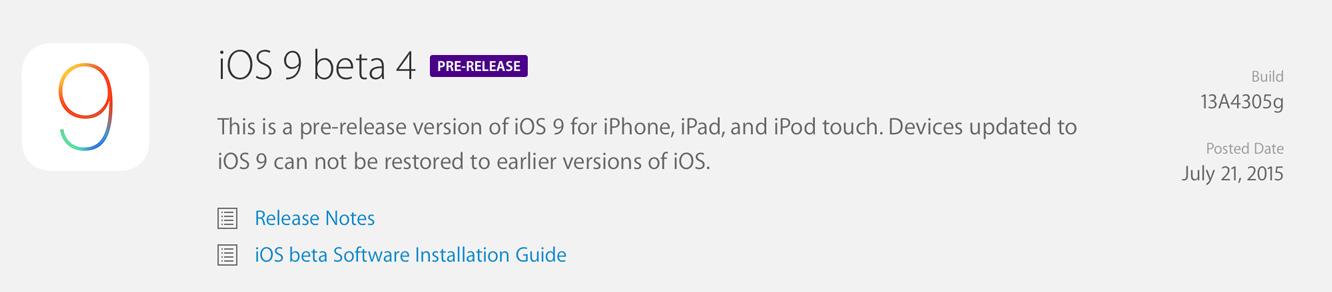 Apple releases fourth iOS 9 beta to developers 1