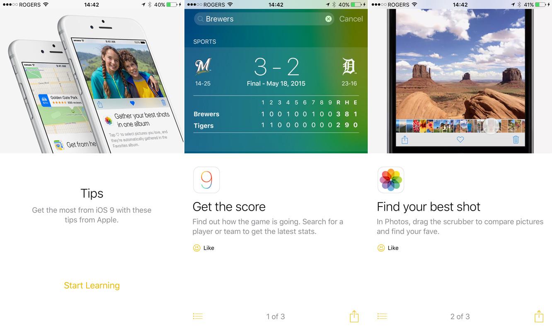 Apple already publishing iOS 9 Tips in latest developer betas
