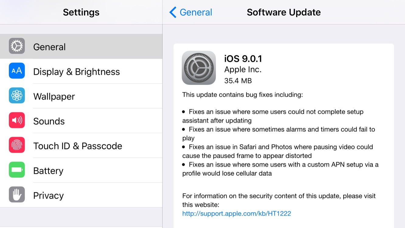 Apple releases iOS 9.0.1 to public, iOS 9.1 beta 2 to developers (Update: public beta also) 1