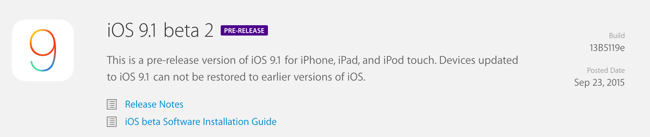Apple releases iOS 9.0.1 to public, iOS 9.1 beta 2 to developers (Update: public beta also) 3