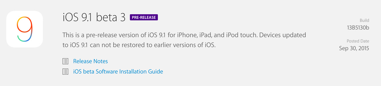 Apple releases iOS 9.1 beta 3 to developers