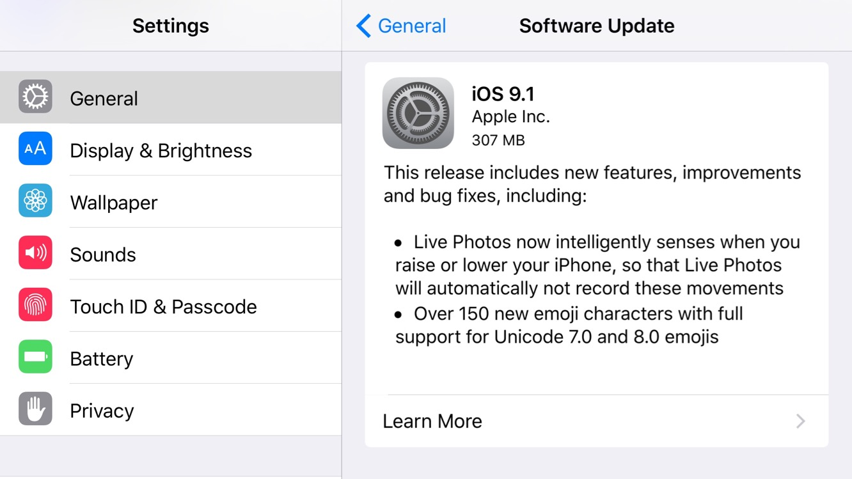 Apple releases iOS 9.1, watchOS 2.0.1