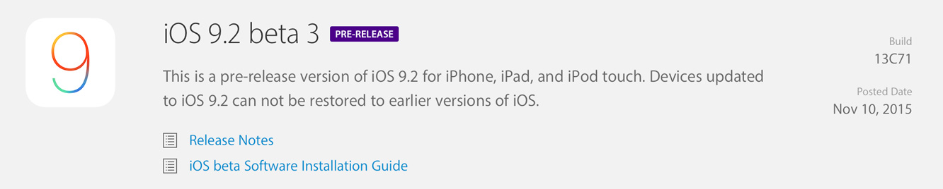 Apple releases iOS 9.2 beta 3 to developers