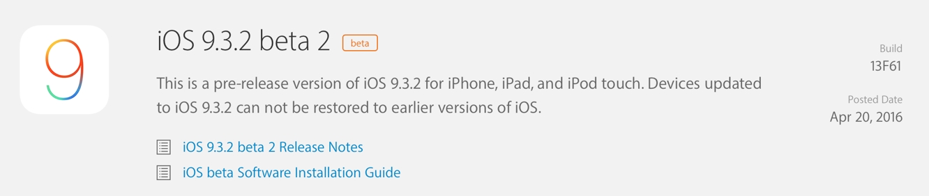 Apple releases second developer betas for iOS 9.3.2, watchOS 2.2.1