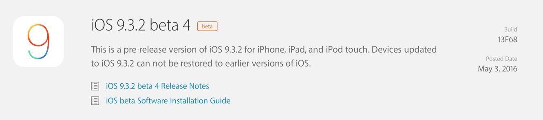 Apple releases fourth developer betas for iOS 9.3.2, tvOS 9.2.1