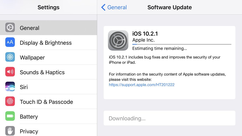 Apple releases iOS 10.2.1 25