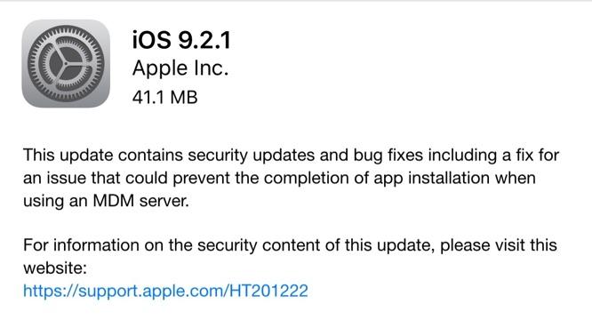 Apple releases iOS 9.2.1