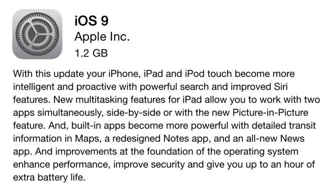 Apple releases iOS 9 1
