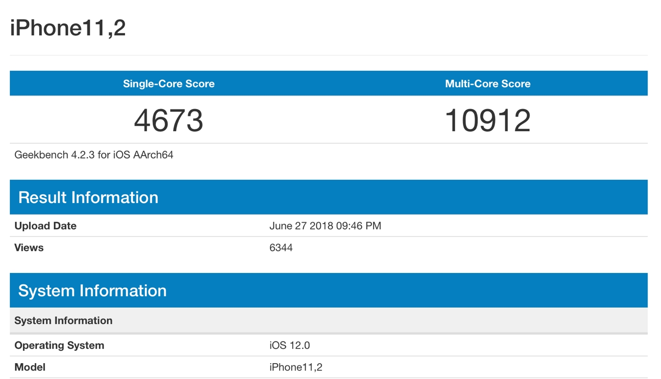 Geekbench results appear alleging to be from 2018 iPhone A12 CPU