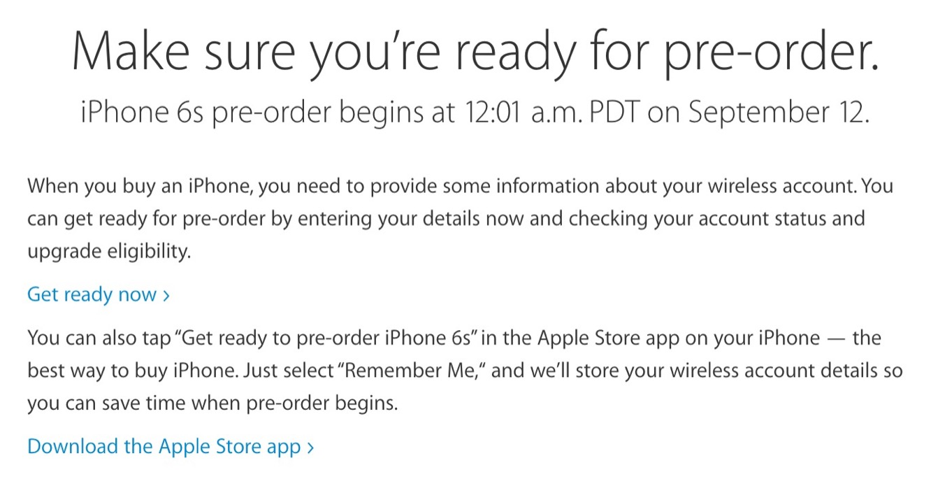 Apple posts iPhone 6s 'Get ready for pre-order' instructions 1