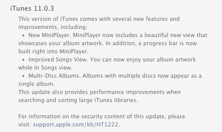 Apple releases iTunes 11.0.3 with new Mini Player 1