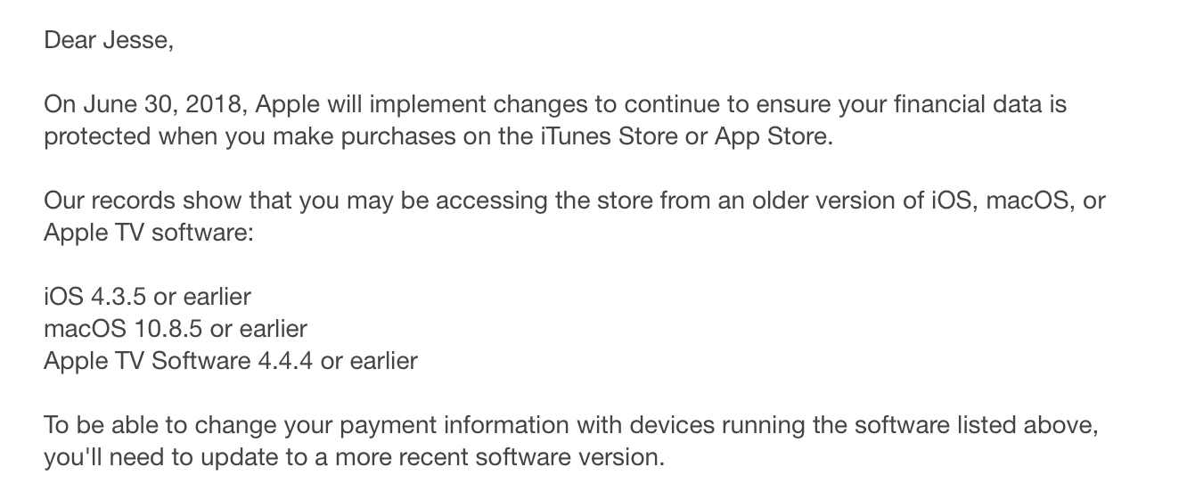 Apple notifies users of very old OS versions about upcoming payment security changes 1