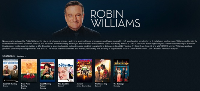 Apple honors Robin Williams with webpage, iTunes section