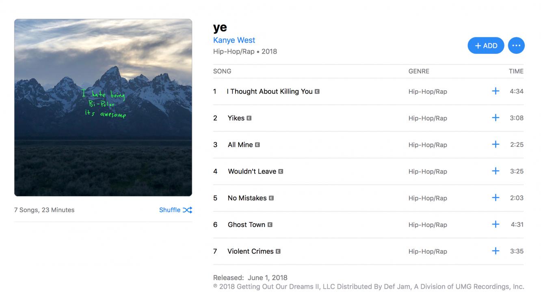 Kanye West's 'ye' debuts on Apple Music 1