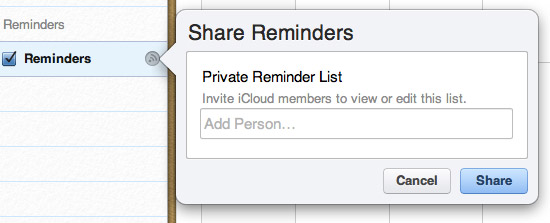 Sharing Reminders over iCloud 1