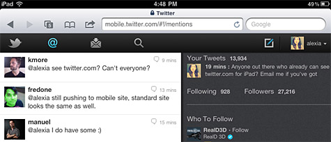 Twitter launches improved web interface for iPad 1