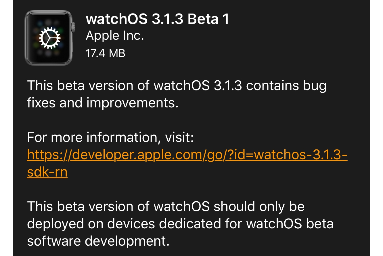 Apple releases first developer beta of watchOS 3.1.3